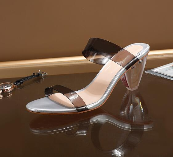 Clear Perspex Crystal Square Heel Sandals Summer Fashion Buckle Strap Peep Toe PVC Transparent Rhinestones Women Shoes