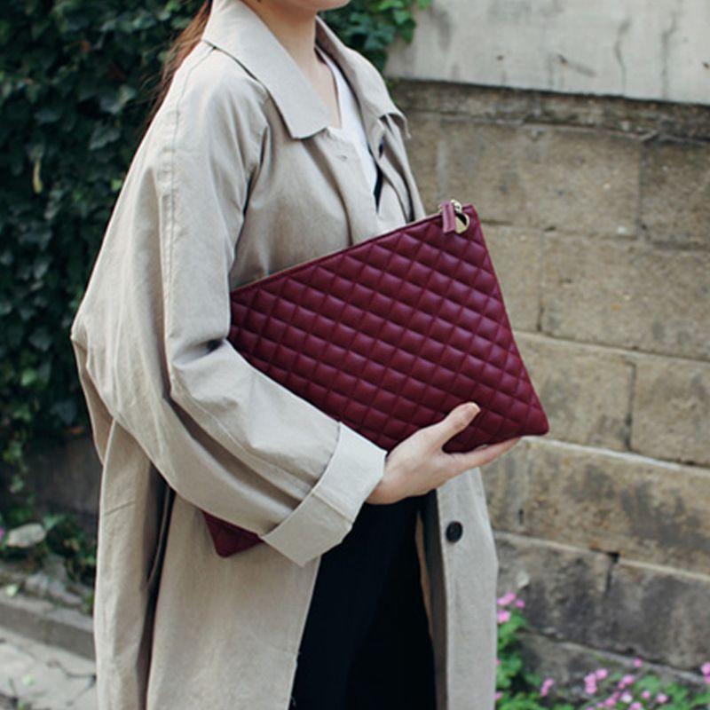 aliwood Women's Bags Clutch Trendy Diamond Lattice Envelope Bag Elegant Leather Evening Bag Handbag Day Clutches Embrayage