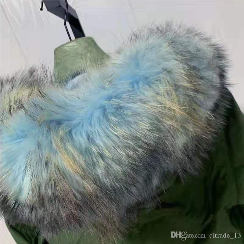 Venda quente peles Mukla marca luz azul pele de coiote forrada exército verde mini mulheres jaquetas de lona com ykk zipper azul marinho guarnição de pele de guaxinim