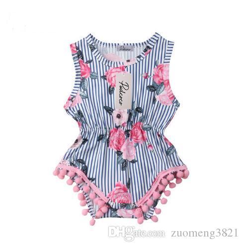 New Baby Girl Tassel Pagliaccetto estate infantile neonata floreale POM POM POMPER POMPER TIVIUTO Abiti da sunsuit 0-18m