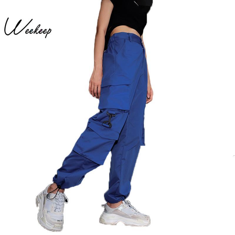 Weekeep Kadınlar Yüksek Bel Mavi Kargo Pantolon Moda Gevşek Cepler Pantolon Bayan Streetwear Patchwork Kalem Ter Pantolon Alt CJ1191109