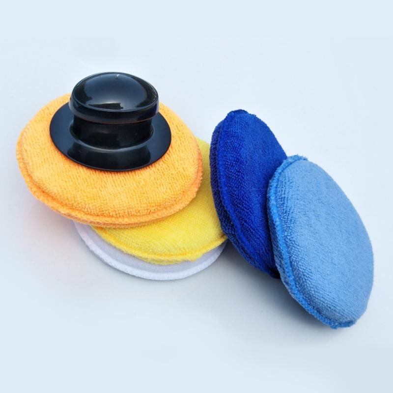 4pcs Tool Professional Polishing Waxing Kit Auto High Density Small Round Microfibre Car Cleaning Buffing With Handle Sponge Set