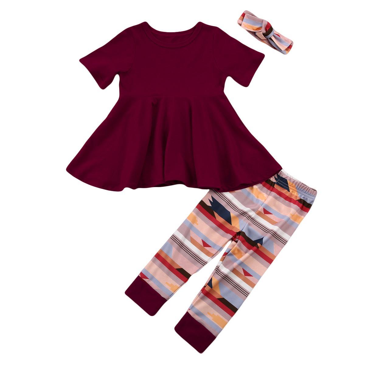 2018 Weihnachtskleinkind-Baby-Ausstattungs-Rot-T-Shirt Tops Kleid + zufällige Figur Gestreifte Hosen Stirnband 3Pcs Set