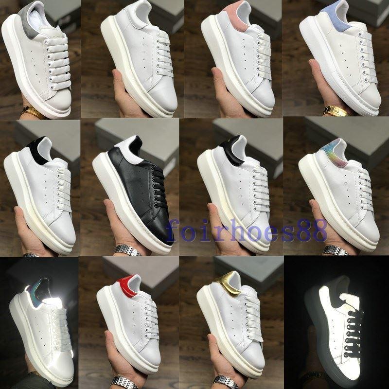 Sıcak Tasarımcı Ayakkabı eğitmenler Yansıtıcı 3M beyaz deri Platformu Sneakers Kadın Erkek Düz Casual Parti Düğün Ayakkabı Süet Spor Sneakers