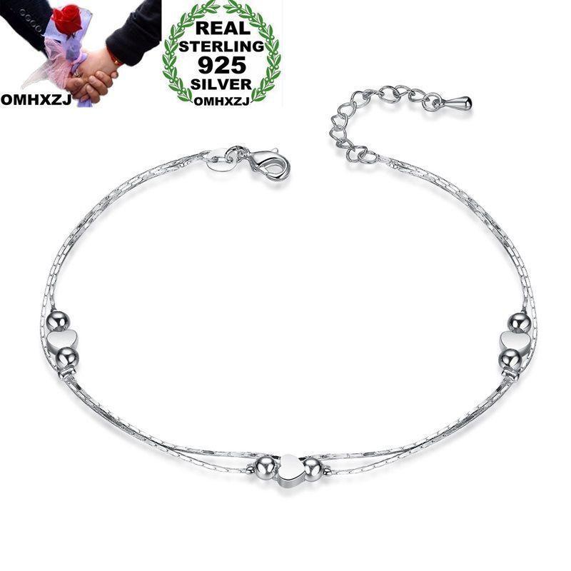 OMHXZJ بالجملة الشخصية أزياء المرأة هدية القلب فضة رقيقة سلسلة 925 فضة سوار مجموعة مجوهرات SE51