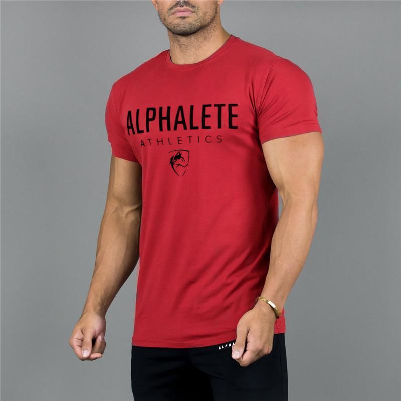 Neue Kleidung Mode ALPHALETE T-shirt Männer Baumwolle Atmungsaktive Herren Kurzarm Fitness t-shirt Crossfit Turnhallen Enge Lässige tees