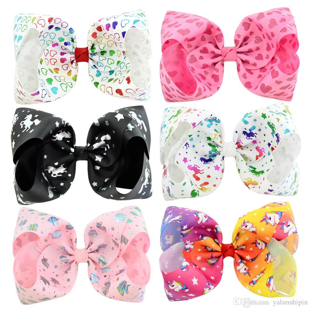 8 inch JOJO SIWA LARGE Rainbow Signature HAIR BOW with card and sequin logo baby girl Children Hair Accessories fashion hair clip
