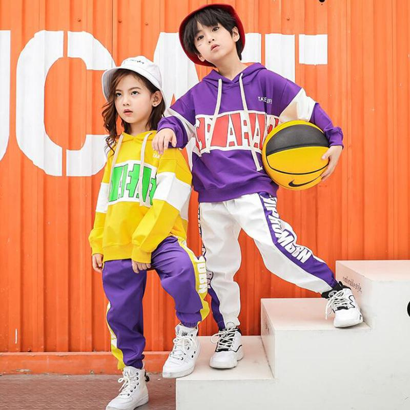 Enfants Hip Hop Sweats Vêtements pour filles garçons Sweat Jogger Pantalons Jazz Dance Costumes Set Vêtements Ballroom Dancing Tenues