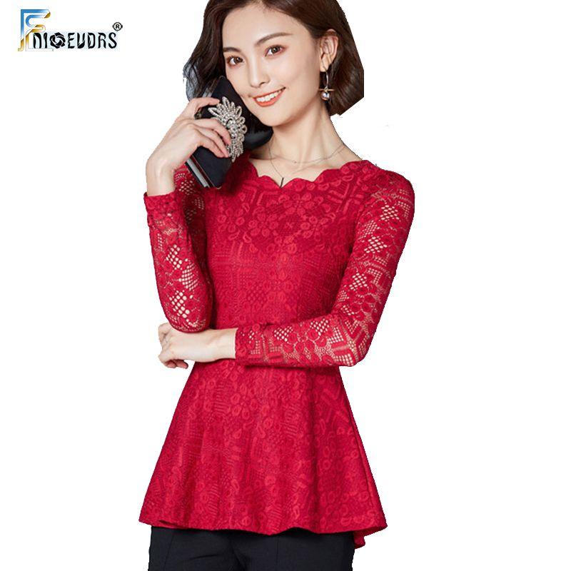 Ahueca hacia fuera Tops Mujeres Crochet Lace Top Office Lady Trabajo Blusa de encaje negro Camisa Peplum Belly Túnica Top camisas feminina