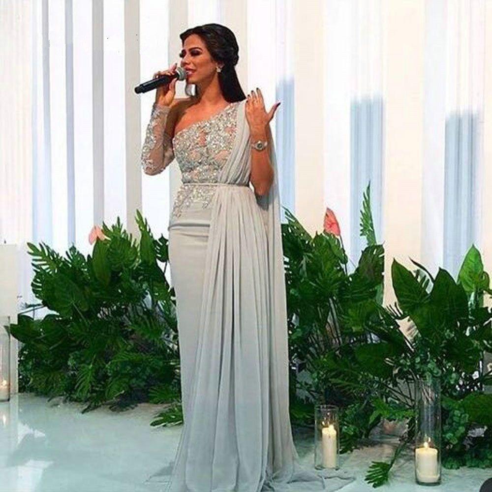 Arabisch-Schulter-Chiffon- lange Abend-Kleider 2020 elegantes Tulle SpitzeApplique mit Rüschen besetzten Schleife-Zuge-formale Partei Dubai Abendkleider