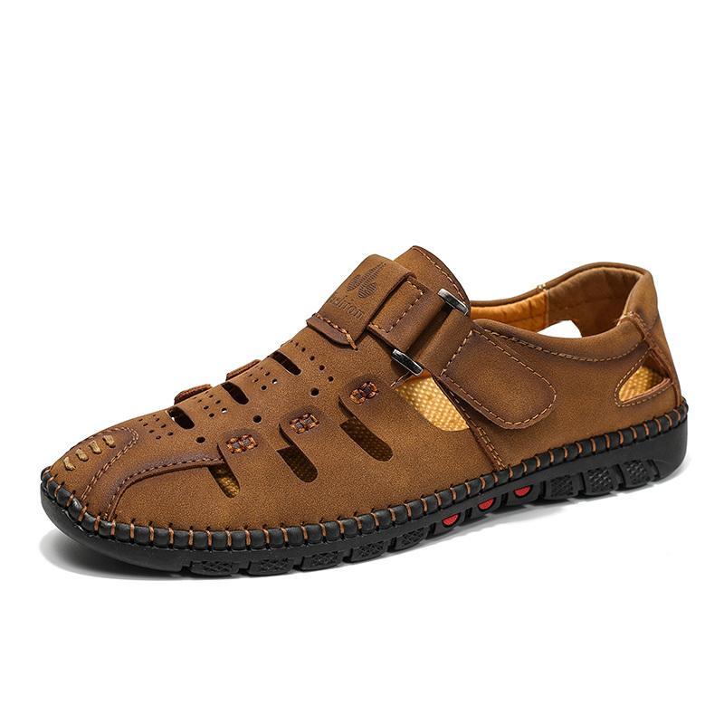 MUJN Mens Leather Sandals 2020 Summer Outdor Man Shoes Soft Handmade Breathable Handmady Male Commandal Walking Sandals Men 38-48 T200420