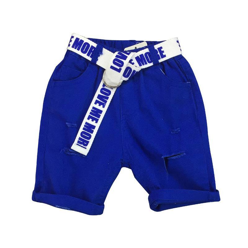 Roupas de verão crianças desenhador meninos Shorts buracos doce cor crianças Shorts cintos Crianças Casual calças calças menino meninos roupas roupas meninos A5149