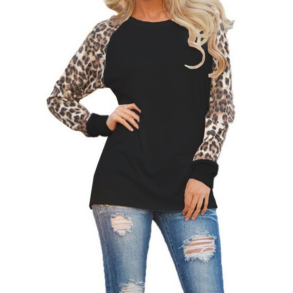 Moda Sonbahar Raglan Kollu Tişört Uzun Kollu Leopard Baskı Gri Kazak Kadın Moda Giyim Ücretsiz Kargo