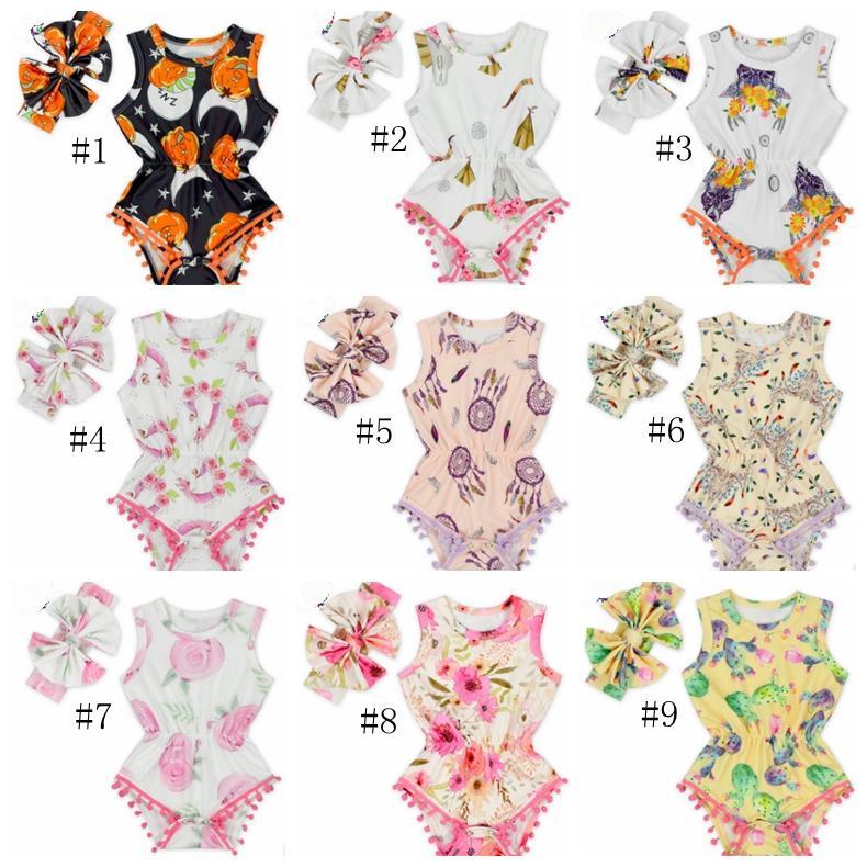 Bebek Kız Giyim Çiçek Bebek Kız tulum saç bandı 2adet Setleri Kolsuz Bebek Tulum Butik Bodysuit Bebek Giyim YW4064-L