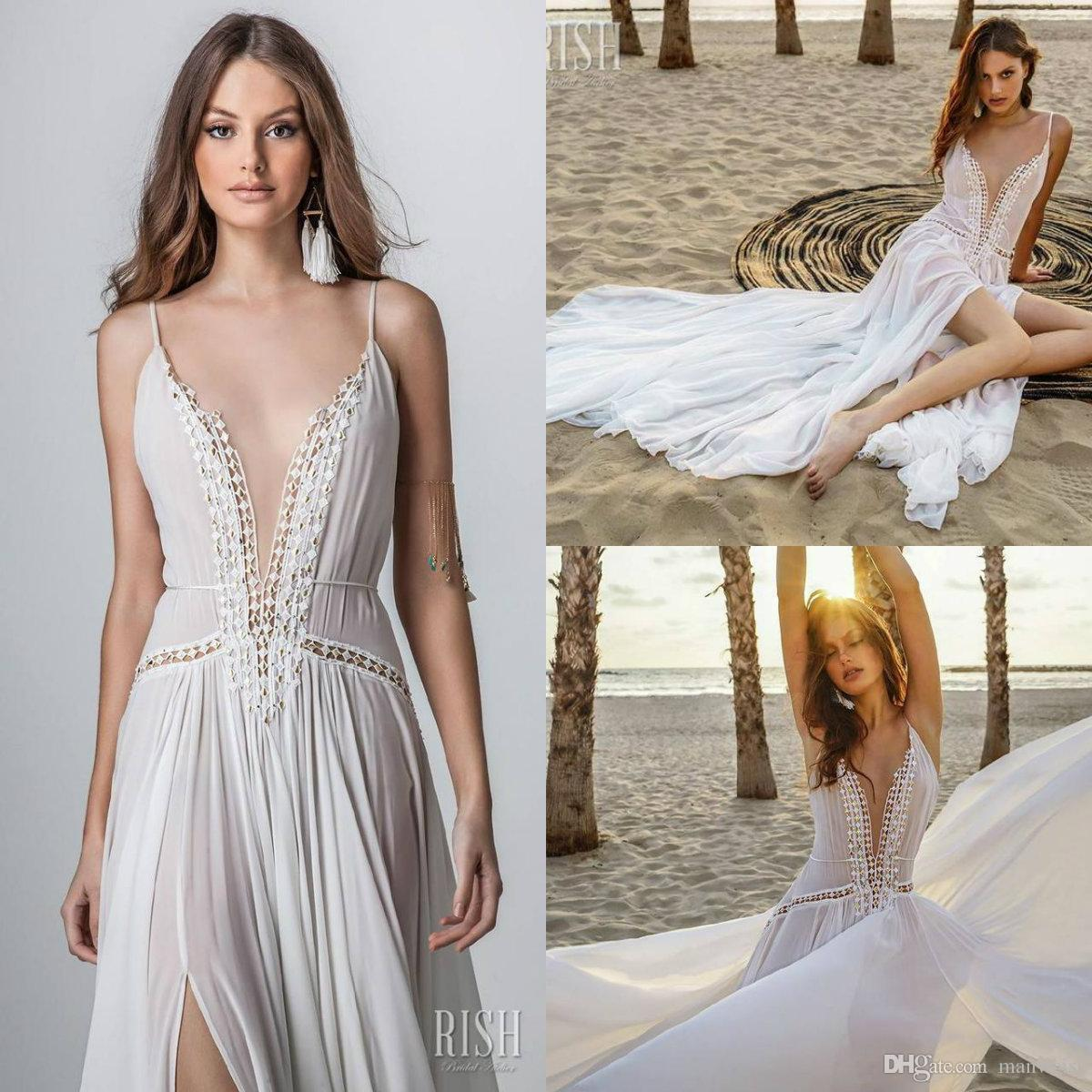 Bohemia 2019 Rish Wedding Dresses Sexy Split Chiffon Spaghetti V Neck Lace Appliqued Beach Boho Wedding Dress Bridal Gowns Robe De Mariée