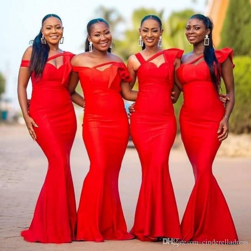 2021 Sexy Red Africana sirena dama de honor del hombro de satén Jardín del país huésped de la boda Vestidos criada del vestido más el tamaño