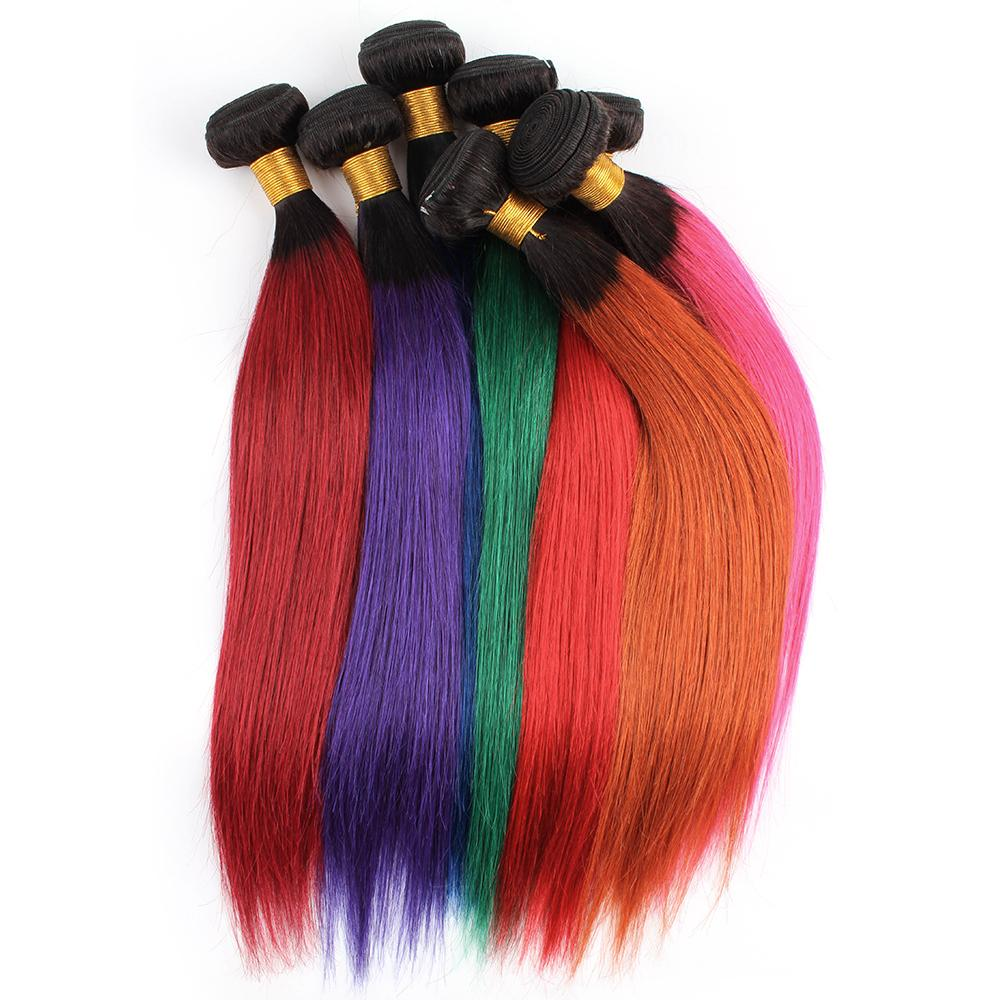 3 Bundles T1b Gris Bleu Violet Vert Rouge Rose Bicolore Ombre de cheveux humains Weave Bundles droite Vierge de couleur brésilienne Extensions cheveux