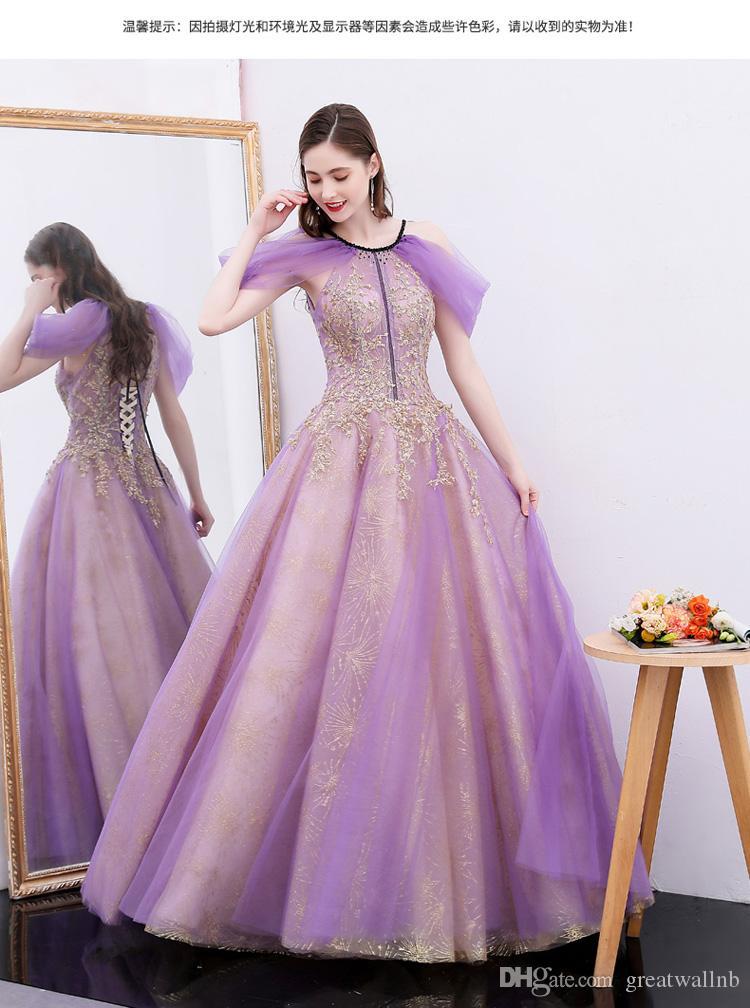 100% echte Luxus lila Schleier goldene Stickerei Perlen Gericht Ballkleid Stuido Prinzessin mittelalterlichen Kleid / viktorianischen Belle Ball