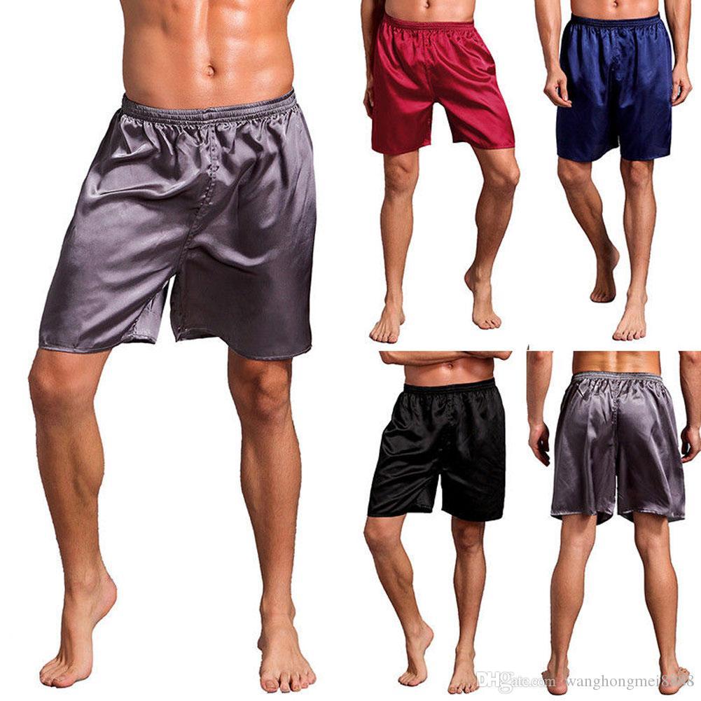 Плюс Размер Мужская Повседневная Пижама Шорты Пижамы Loungewear Пижамы Нижнее Белье Спать Днища Красный / Синий / Черный / Серый