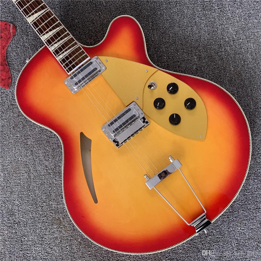 Hohe Qualität 6 String E-Gitarre, n 360 c Gitarre, gelbes Mosaik, Holzfarbe