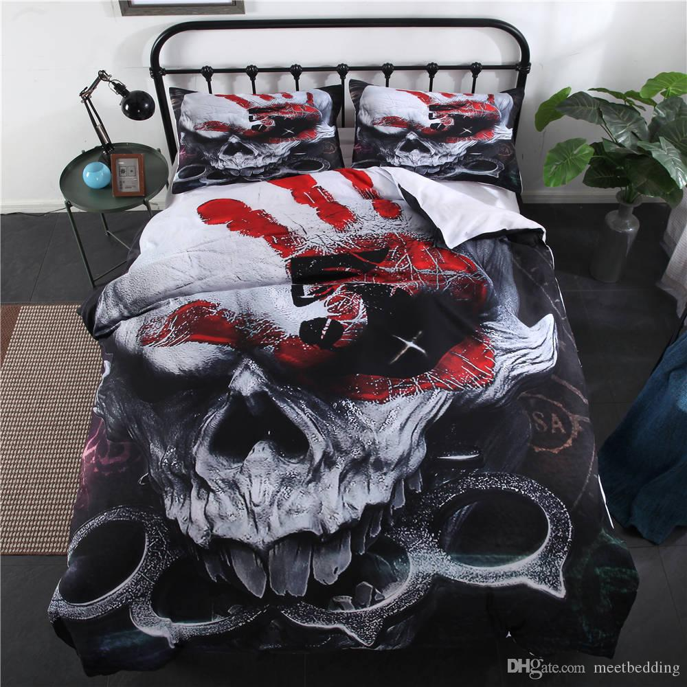 Fashion Bedding Set King Twin Queen Size Bedding Cover with 3D Skull Punk Beauty 2/3pcs with Pillowcase of Comforter Cover Set