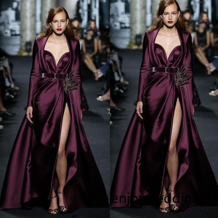 Elie Saab Abendkleider Burgundy Ballkleider lange Hülsen-Schatz bodenlangen Abendkleid Hoch Split roten Teppich-Kleid Abendkleider