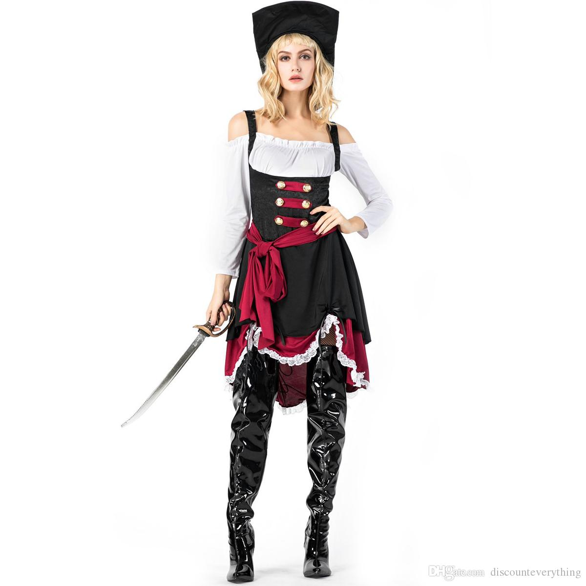 Ladies Zombie Pirate Lady Costume Halloween Buccaneer Womens