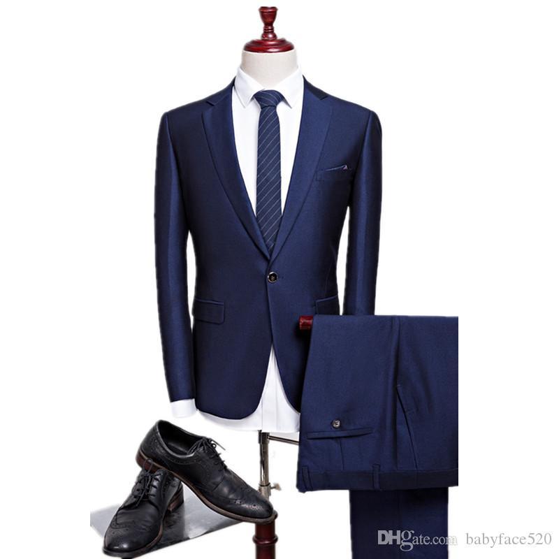 Zweiteilige Marine-Blau-Hochzeit Smoking Business Men Anzüge fallendem Revers nach Maß Knopf Bräutigam-Hochzeit Smoking (Jacket + Pants)