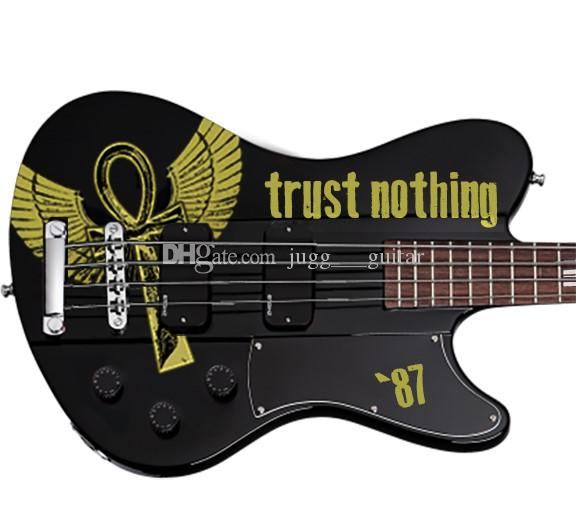 Simon Gallup Ultra Spitfire Bass Gloss Black w/Simon Gallup Red Graphic 4 Strings Electric Bass Guitar Neck Through Body, Copy EMG Pickups