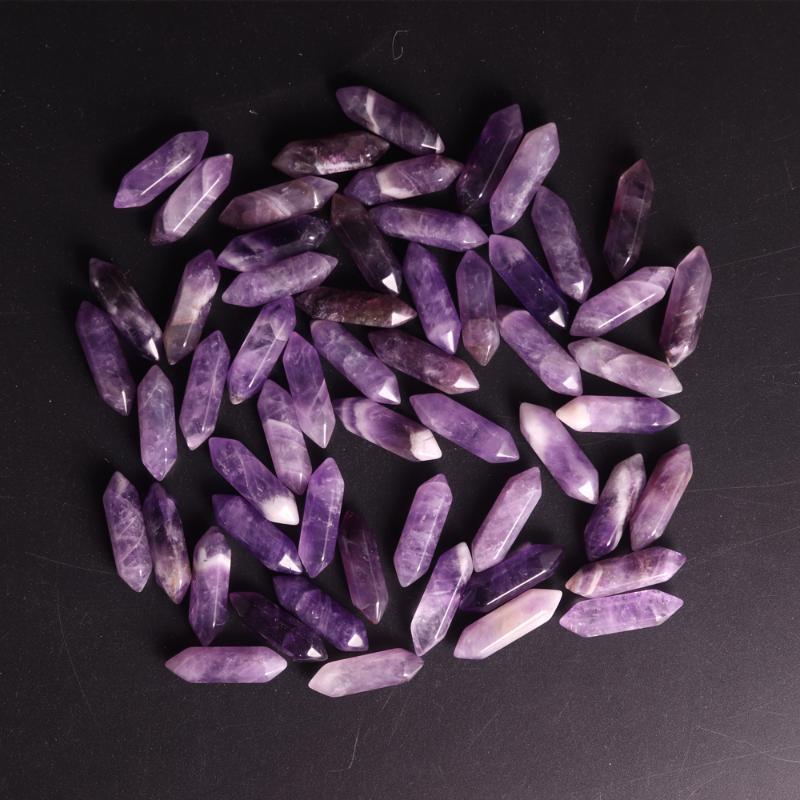 50pcs / lot naturel Violet cristal Améthystes Reiki Hexagonal colonne de guérison point Perle Accessoires pour bijoux boucle d'oreille gratuit