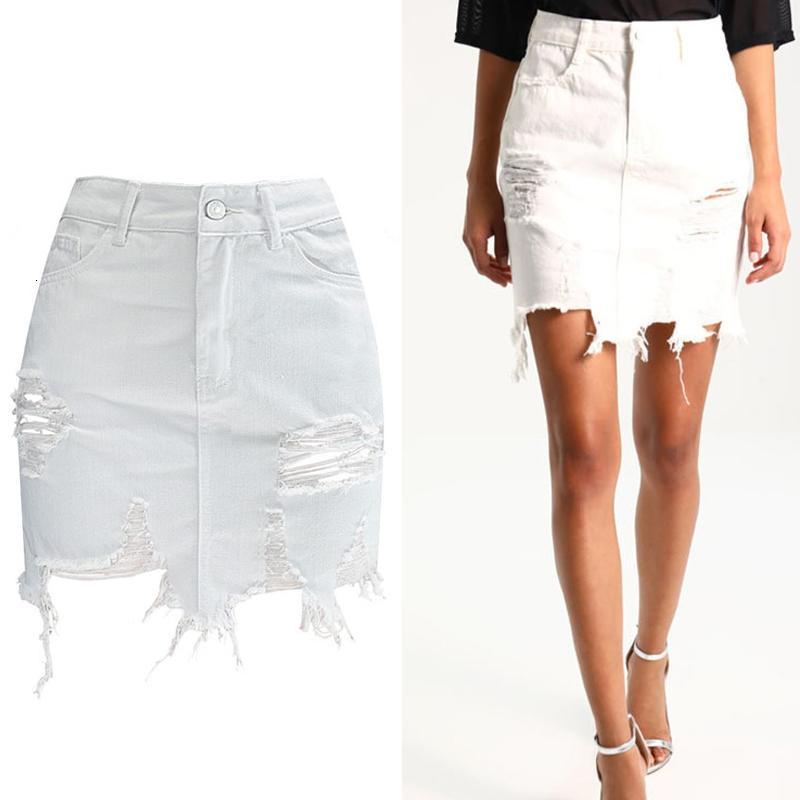 Gonne per le donne pannello esterno del denim 2019 Estate femminile aderente matita del denim dei jeans a vita alta Donna fiocco nero gonna bianca Jeans