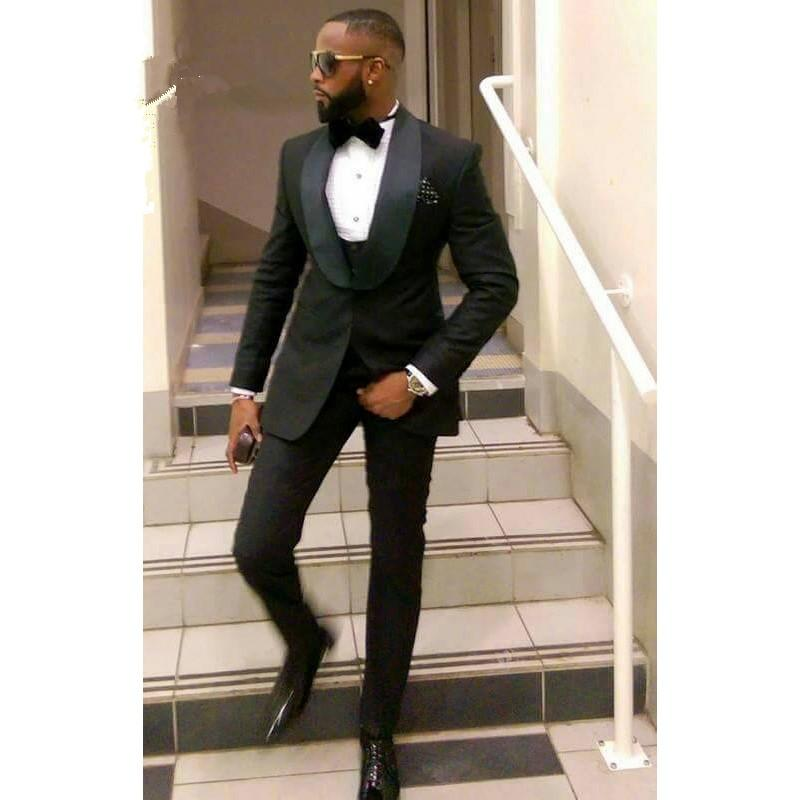 2020 Costume Black Slim Fit Men Suits for Groom Wedding Tuxedos shawl Lapel Custom Male Blazer 3 Piece Men Jacket Pants Vest