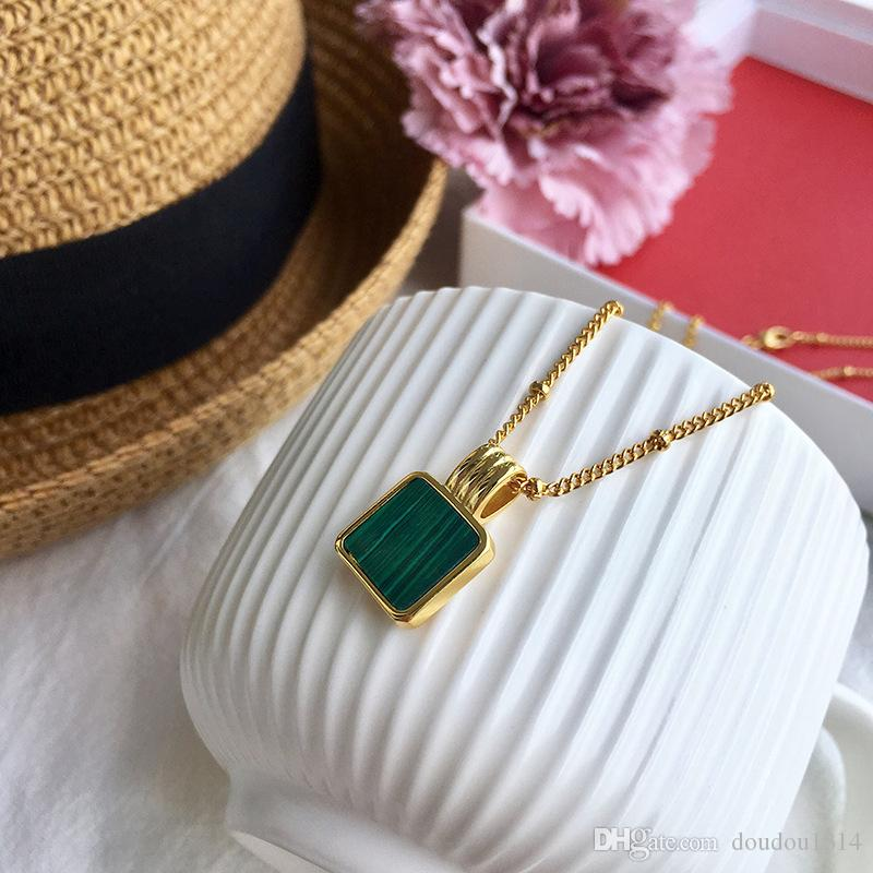 медно-желтый позолоченный белый перламутровый малахит натуральный камень кулон ожерелье для женщин 2019 новые роскошные ювелирные изделия