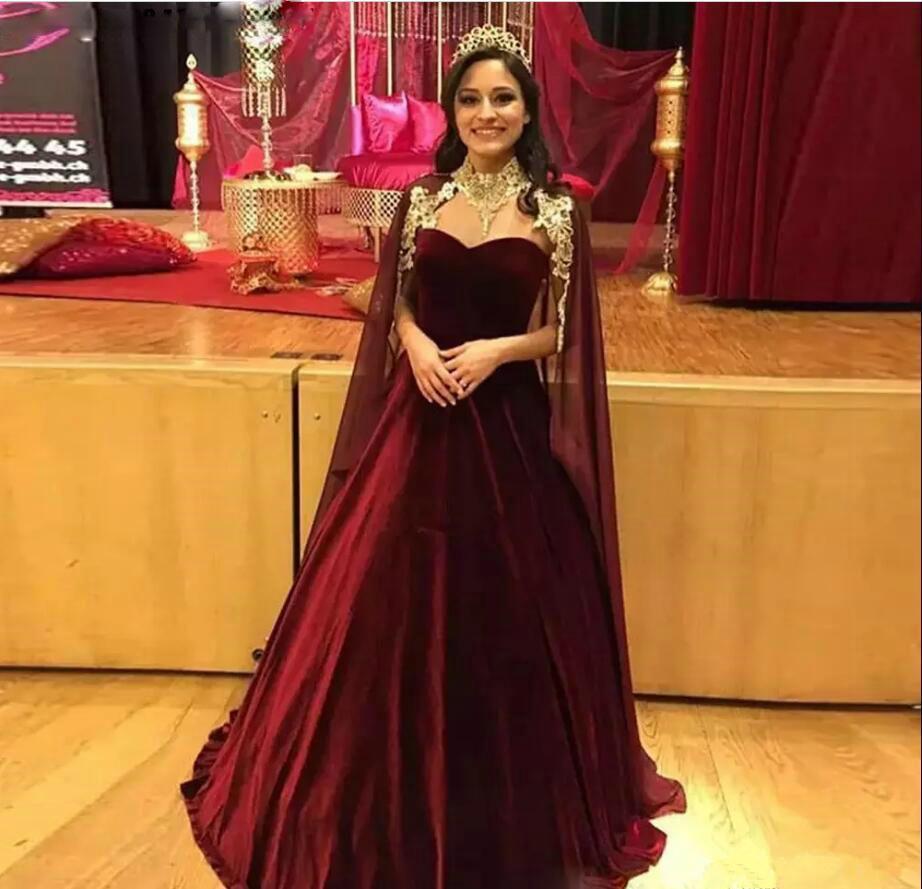 lusso arabo saudita Borgogna A dei vestiti da sera Line con abito da sera Cape Velvet abiti Gonna Dubai Prom abito lungo Pageant
