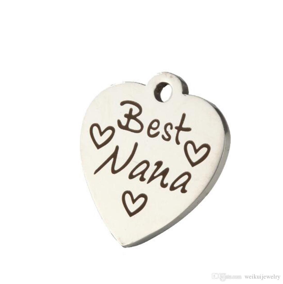 Accesorios personalizados para el corazón de acero inoxidable Colgante El mejor regalo agradable Accesorios grabados para el Día de la Madre Regalos sorpresa listos