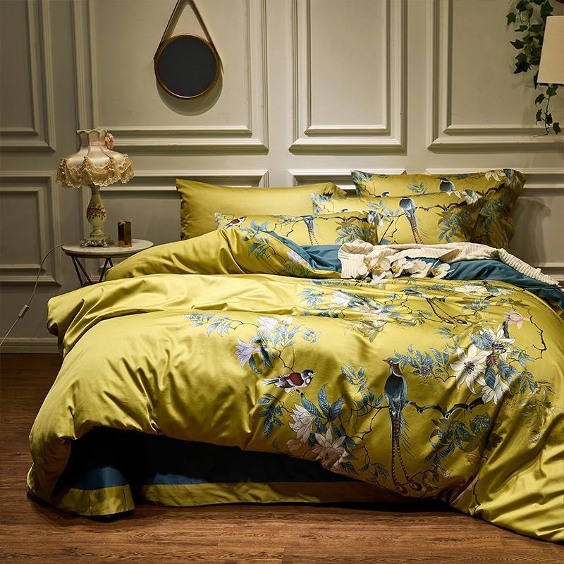 4pcs Silky Egyptian Cotton Yellow Chinoiserie Style Birds Flowers Duvet Cover Bed Sheet Fitted Sheet Set King Size Queen Bedding Set