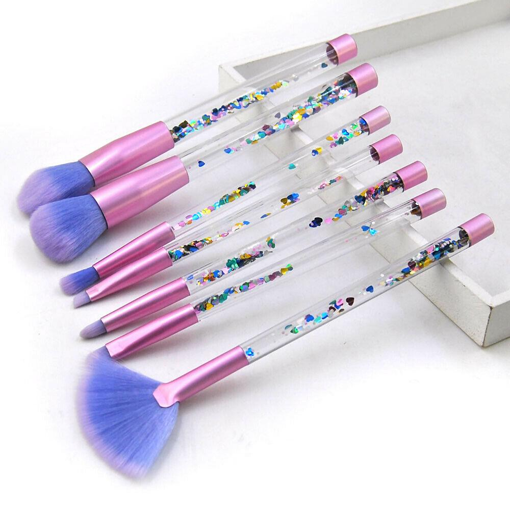 Hot vente de cristal de maquillage Pinceaux professionnels Sourcils Eyeliner Fard à joues Blending Contour Fondation cosmétiques Maquillage 7pcs brosse bling