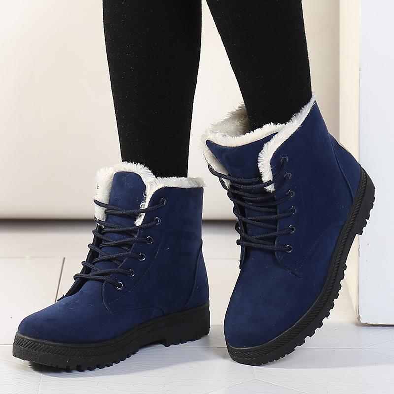 Ayak bileği için Kadınlar Kış Kadın Kar Boots Botaş Mujer Peluş Ayakkabı Kadın Plus Size 44 Y200114 Isınma