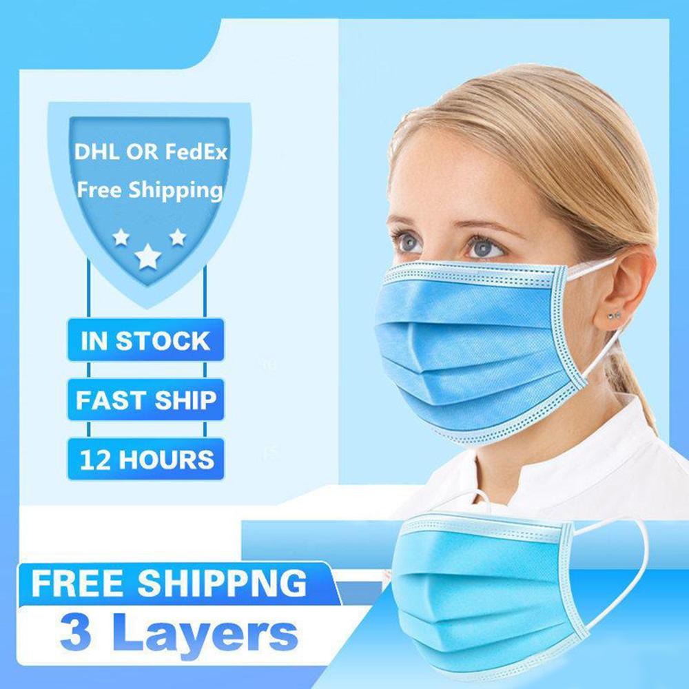 2020 Las nuevas máscaras faciales desechables barato 3 capas protectoras de polvo Boca máscara facial máscaras cubierta protectora Máscara Set del polvo anti Seguridad