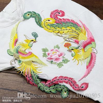 20191003 Fenghuang Peony bordado pano Furar o grande tamanho do chinês Vestido Cheongsam Bordado Acessório material manual com fios