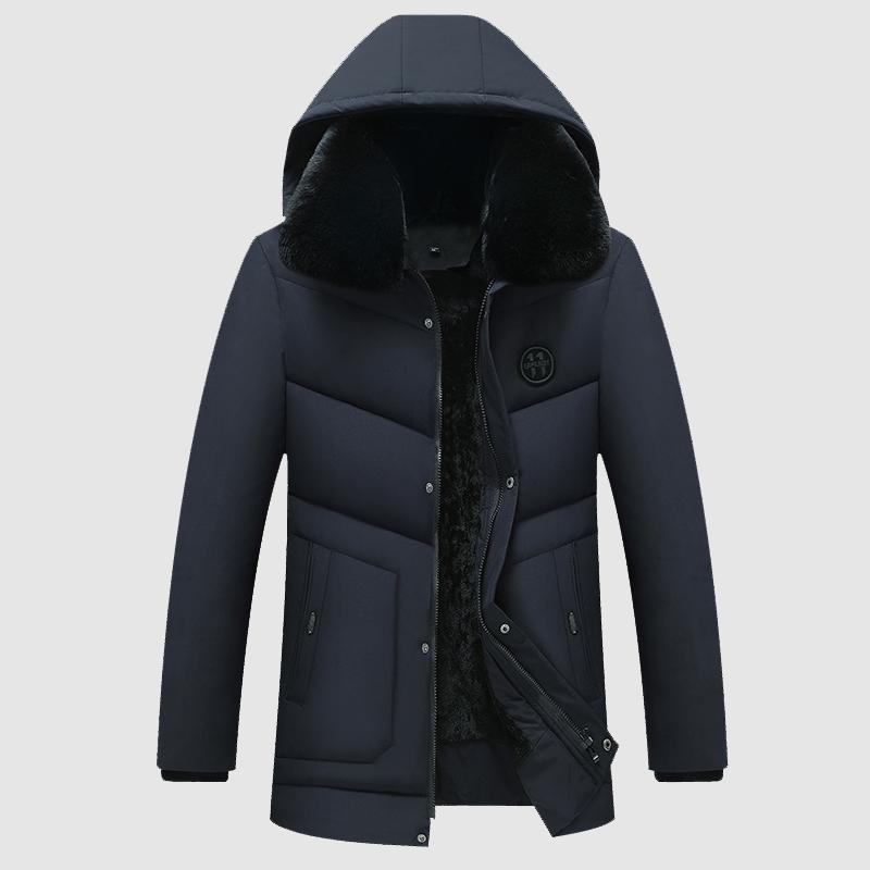 Зима новый с капюшоном Parkas людей тонкий средней длины хлопка куртки мужские Бизнес Повседневный Большой размер 4XL с меховым воротником Parkas пальто