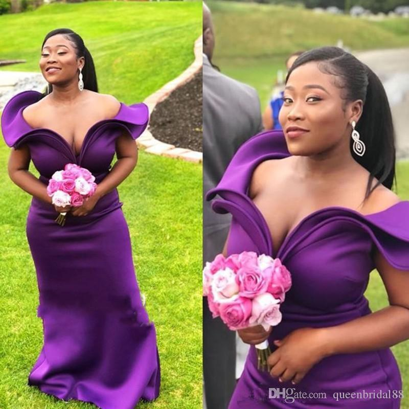 Country Plus Size Wedding Bridesmaid Dresses Tiered Off Shoulder African Long Maid of Honor Party Prom Gowns