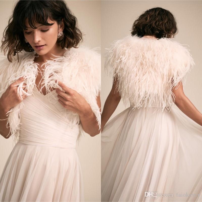 2019 BHLDN Wedding Jacket With Luxury Feathers Cap Sleeves Wedding Wrap Custom Made Bridal Jacket for Wedding Dress