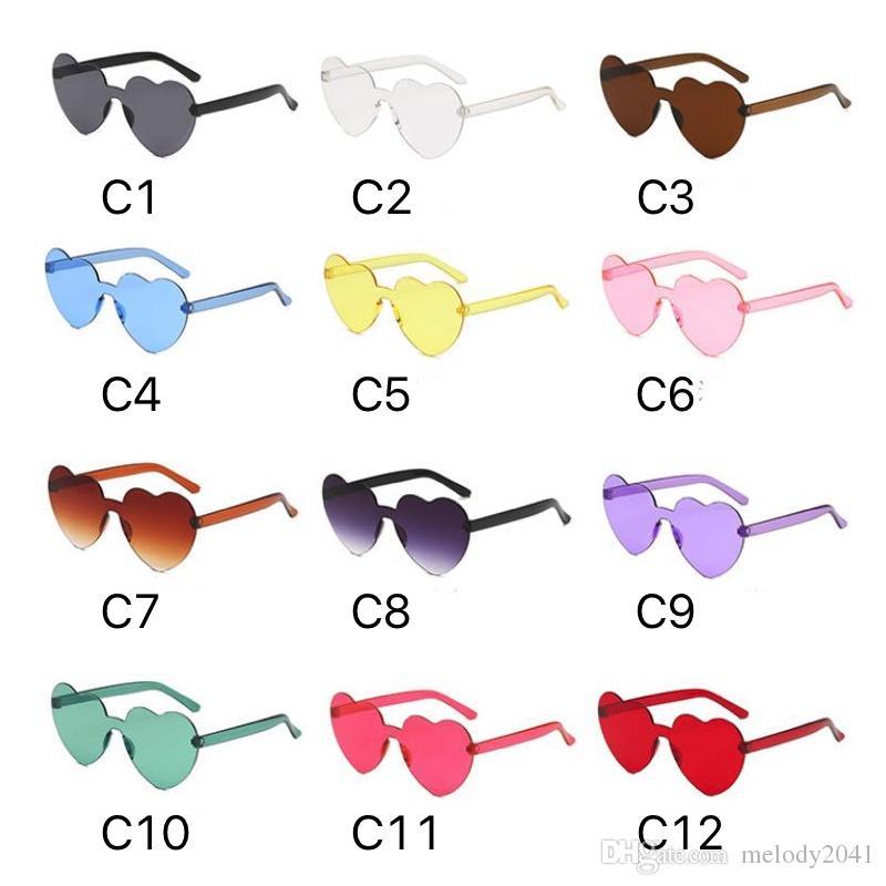 Forma de corazón caliente 2019 Gafas de sol de moda 12 colores Colores de caramelo Gafas Una pieza Sin montura Gafas de sol Gafas de sol baratas al por mayor