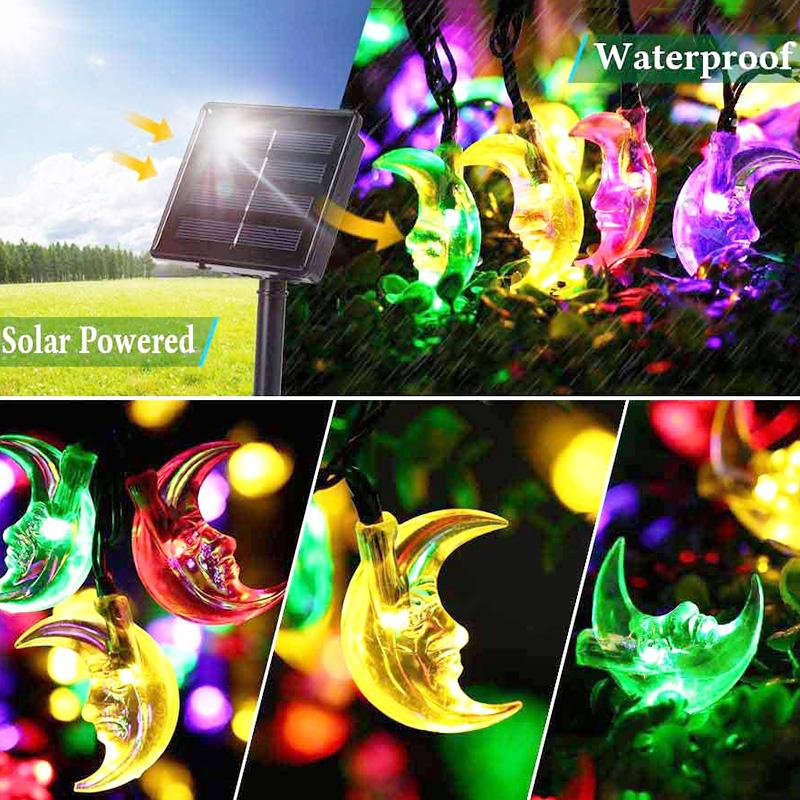 LED Solar String Lights 20 LED Moon Lamp Waterproof Outdoor Garden Light Halloween Christmas Home Wedding Party Holiday Lighting