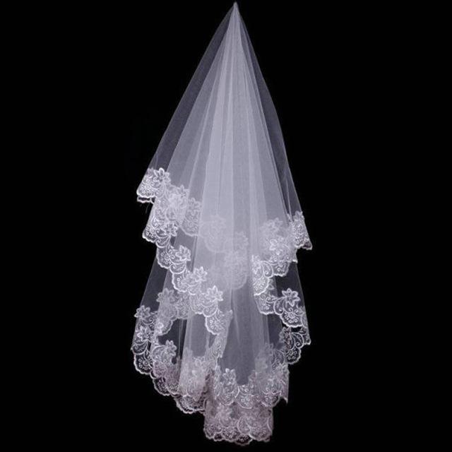 Дешевые короткие свадебные фаты с кружевным краем Новый Мыс Mariage короткие свадебные фаты невеста Свадебные аксессуары