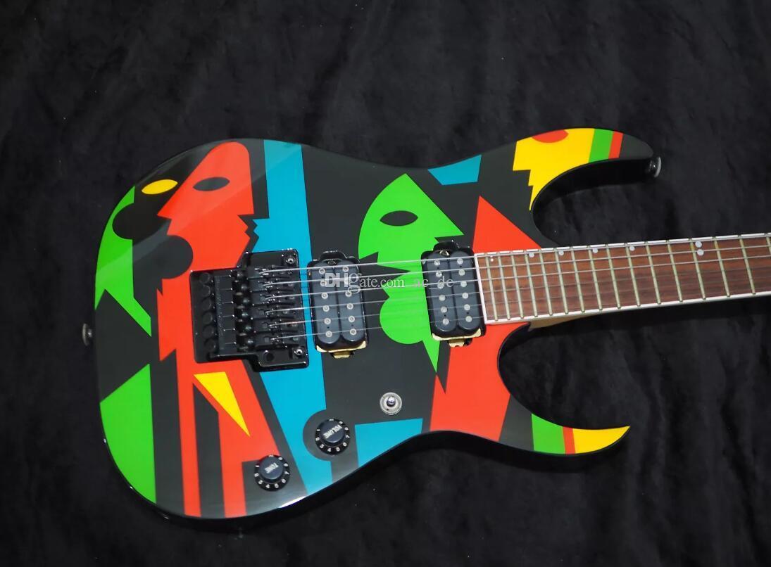 Пользовательский магазин JPM100 P1 John Petrucci Signature Electric Guitar Floyd Rose Tremolo Tailsifet, фиксируя гайка, без пикап колец, черные ручки