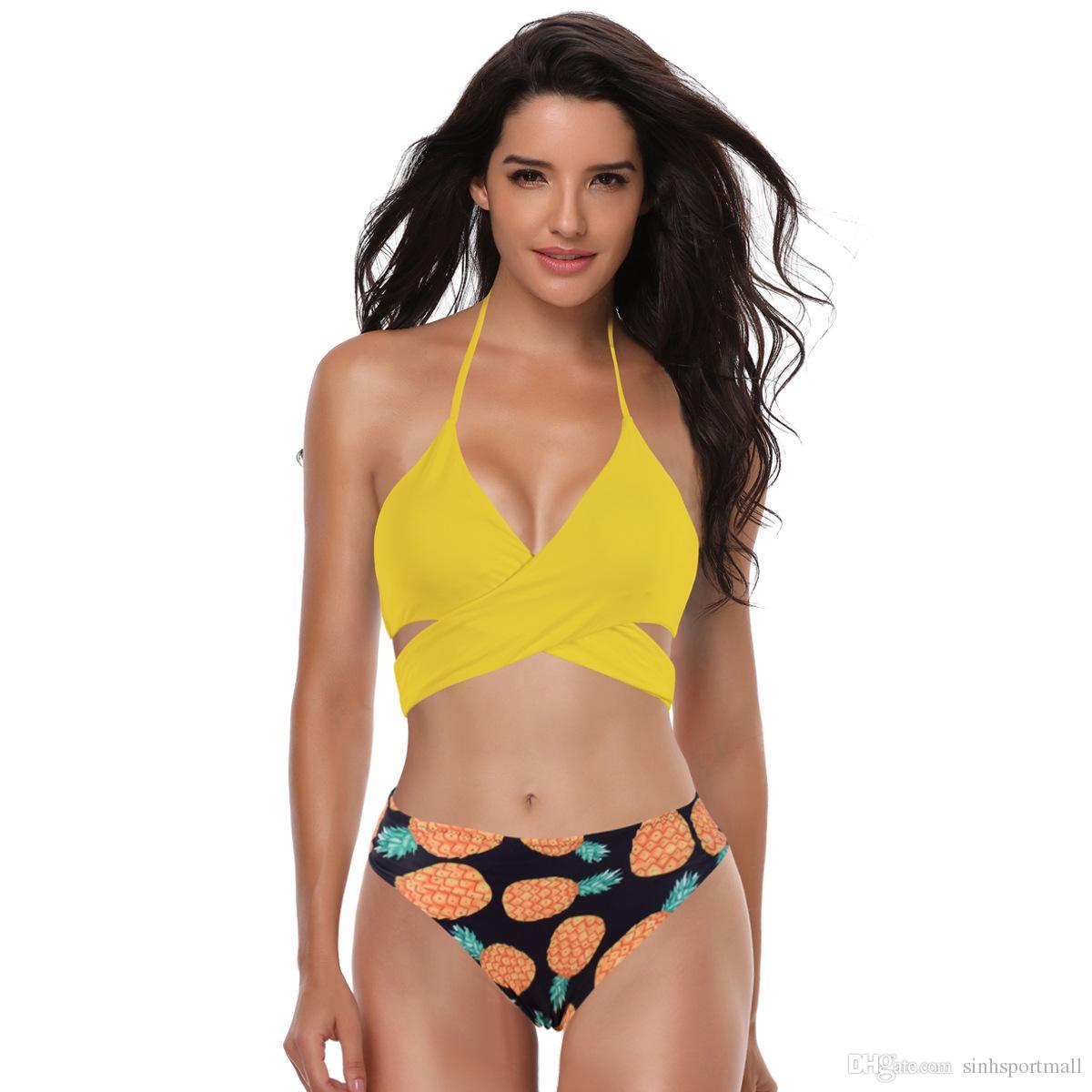 selección premium b0fcb 7389c Compre Bikinis Traje De Baño De Las Mujeres Biquini 2019 Traje De Baño De  Las Mujeres Para Las Mujeres Trajes De Mujer Sexy Cintura Baja Imprimir ...