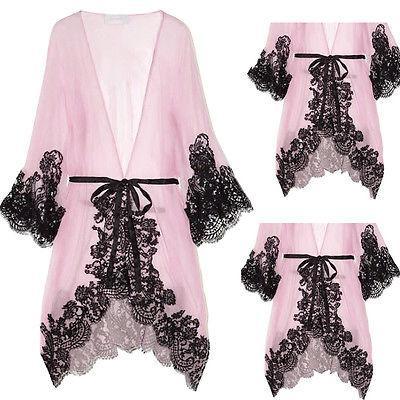 Vestido de dormir Mulheres Sexy Pink Lace Pijamas Chemise Kimono sono Nighty vestido Bath Robe