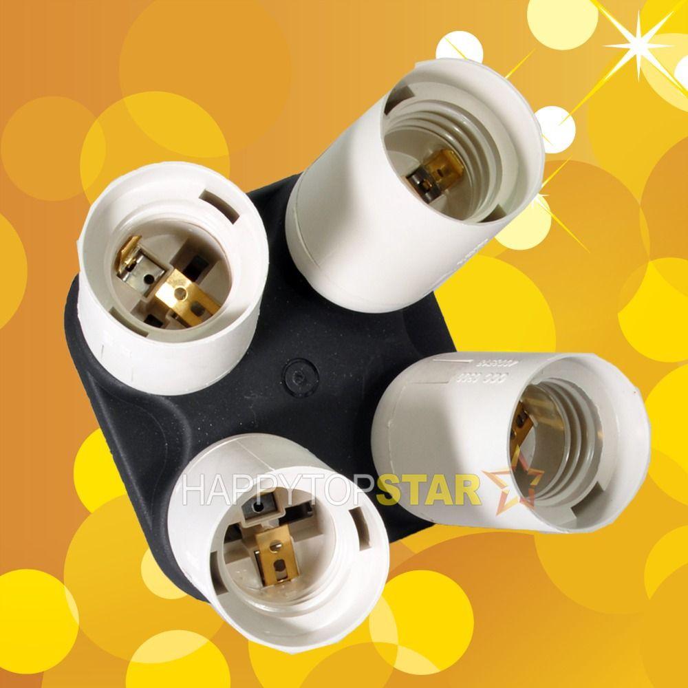 E27 E26 (1 in 4) 4X 소켓 AC 전원 분배기 라이트 램프 전구 어댑터 컨버터 fr 비디오 사진 스튜디오 슬레이브 플래시 연속 CFL